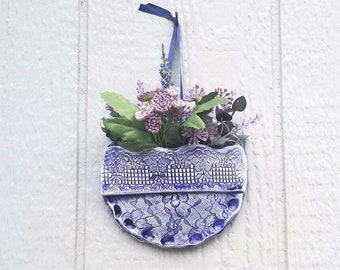 Wall Pocket Planter, Pottery Wall Pocket, Vintage Lace Pottery, Hanging Plant Holder, Country Wall Decor