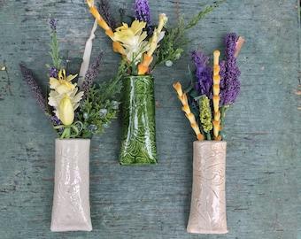 Mini bouquet holder with inlaid Lace Pottery, Mini Vase, Farmhouse Decor, Valentines gift. Tiny Vase, , Wall Decor, Holiday Gift