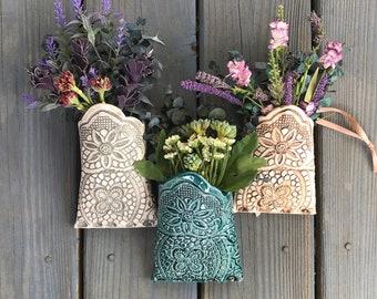 Hanging Wall Pocket Vase, Farmhouse Decor, Country Home decor, Hanging Plant Holder, Wall Decor, Holiday Gift