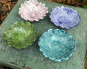 Flower Petal Ring Dish, Small Decorative Bowl, Jewelry Organizer, Home Decor Bowl, Candy Condiment Bowl