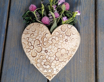 Hanging Wall Vase, Country Home Decor, Heart Wall Decor, Heart Farmhouse Decor, Pocket Vase, Valentines gift.