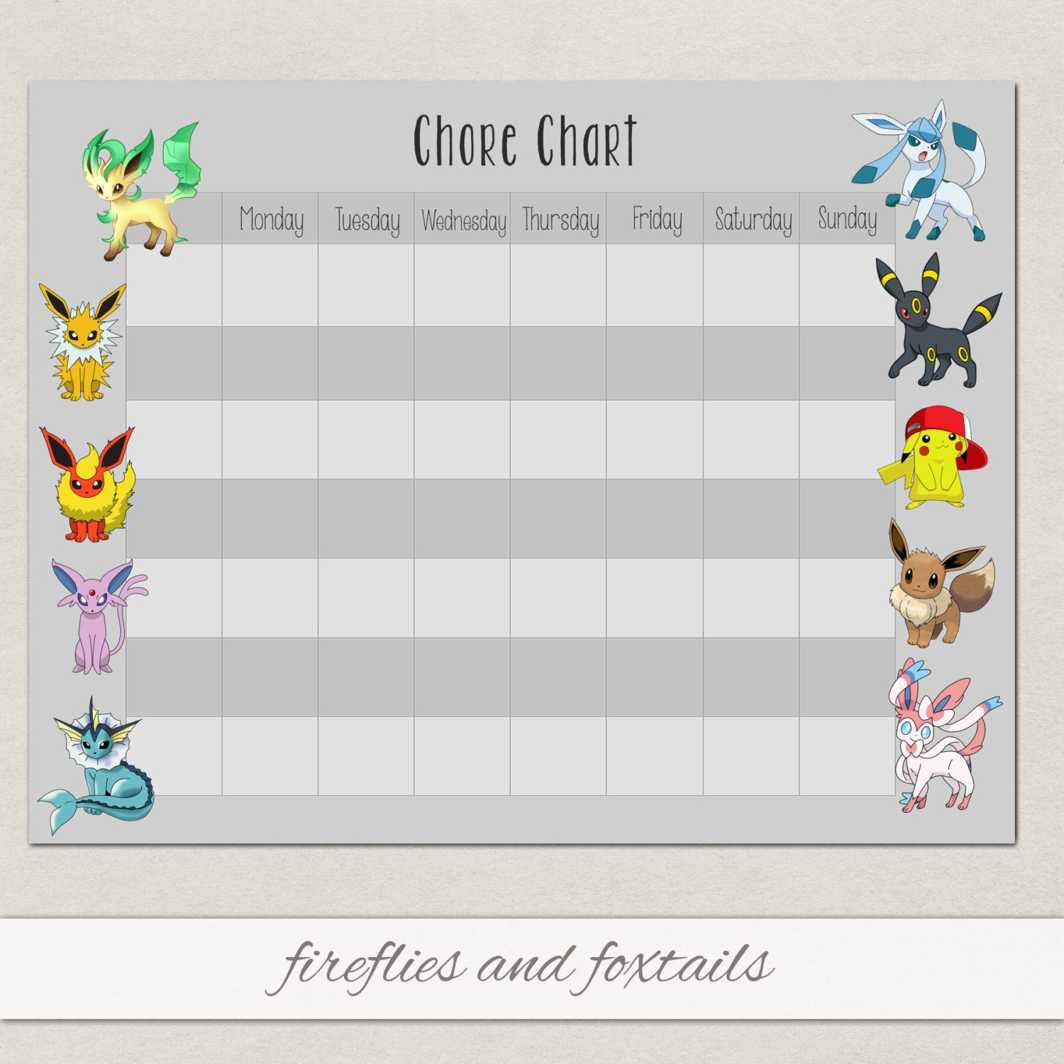 Blank Eevee Pokemon Behavior Or Chore Chart Visual