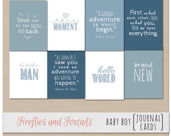 Baby Boy Digital Journal Cards 3x4 and 4x6