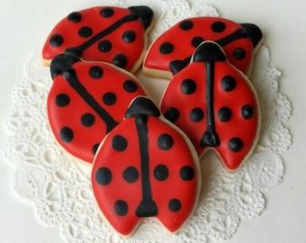 Ladybug Cookies - Mini Bites - 2 1/2 Dozen Mini Cookies