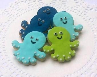 Octopus Sugar Cookies - Mini Cookies - Nautical Cookies