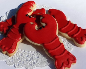 Little Lobster Sugar Cookies - Mini Bites - 2 1/2 Dozen Mini Cookies