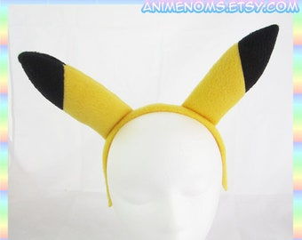 Pikachu Ears Headband - Fleece Anime Geek Gift Pokemon Yellow Black Cute Kawaii Cosplay Ears