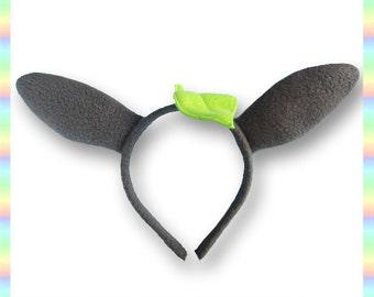 Totoro-Inspired Ears Headband - Fleece Anime Geek Gift Grey Green Cute Kawaii Cosplay Adult Teen Child