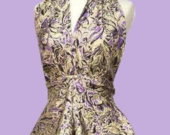 Vintage 90's gold metallic and purple brocade party / club dress