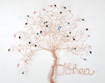 Family Tree Wall Hanging Sculpture Custom Wire Swarovski Crystal Birthstone Tree