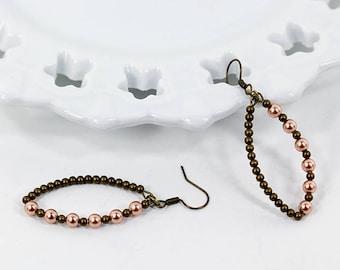 Rose Gold Swarovski Pearl Earrings Antique Brass Beaded Marquis Hoop Earrings