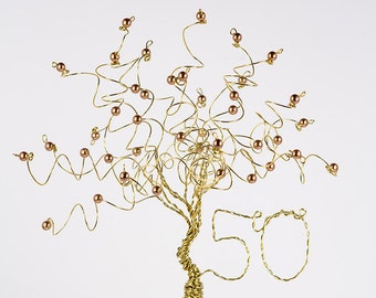 50th Anniversary Cake Topper Gold Tree Sculpture