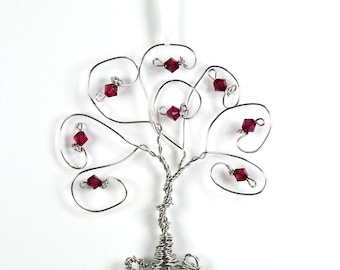 Birthstone Tree Ornaments Swarovski Crystal Keepsake Gift Decor Family Tree Wire Ornament