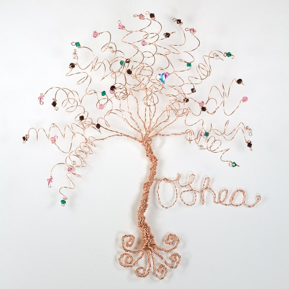Family Tree Wall Hanging Sculpture Custom Wire Swarovski | Etsy