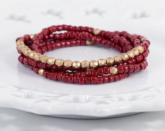 Long Beaded Necklace in Oxblood and Gold Wrap Bracelet