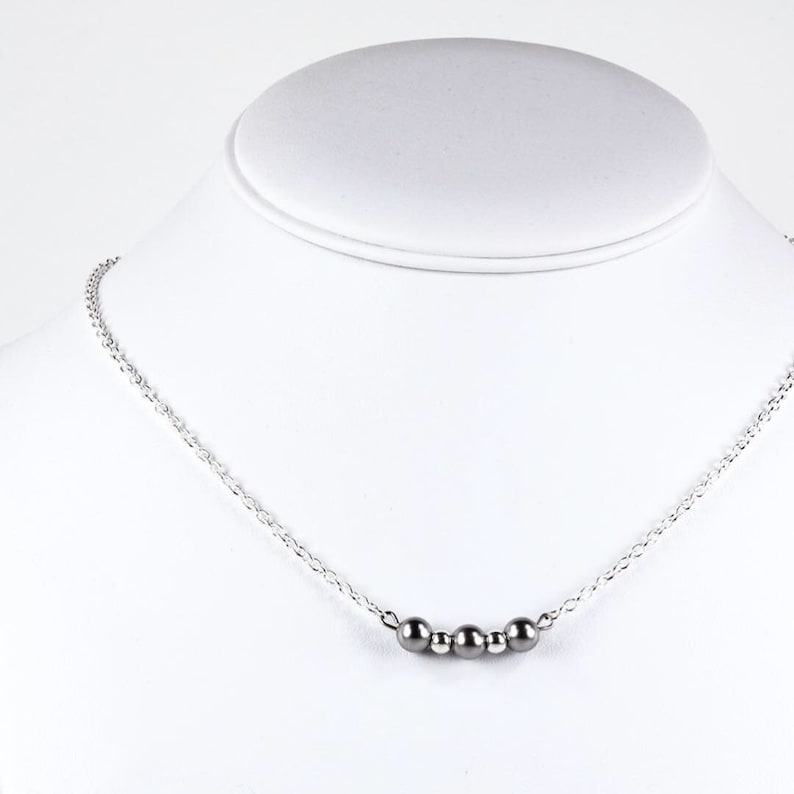 7ae0b42faac2a As seen on Jane the Virgin Necklace Silver Swarovski Pearl Trinity Necklace  Minimal Chic Pearl Necklace