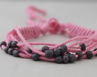 Pink Friendship Bracelet, Ibiza hippie style, with small beads