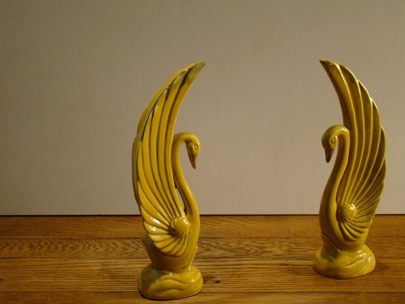 Japanese Art Deco Table Decor Pair of Vintage Golden Yellow Swans and Bowl set