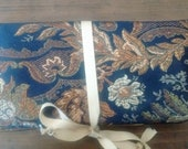Navy Blue and Brown Zill Bag - A Zill Keeper Stores 'Em Neatly & Quietly - Eco-friendly