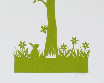 Personalized Baby Name Memory Tree - bespoke hand cut paper cut