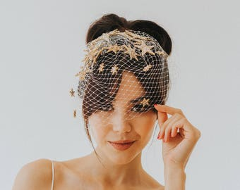 Starburst Glitter Birdcage Bridal Star Veil