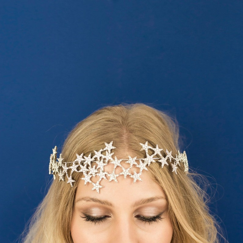 Star Halo Crown Headband Bridal Party Star Crown image 0