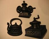 Cast Iron look Vintage Metal Coffee Grinders Kettle wall hangings. 3 for 1