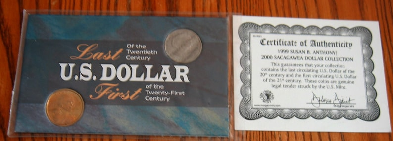 Last and First USA Dollar Coins of the Century 1999 Susan B Anthony and 2000-P Golden Sacagawea moon landing Eagle