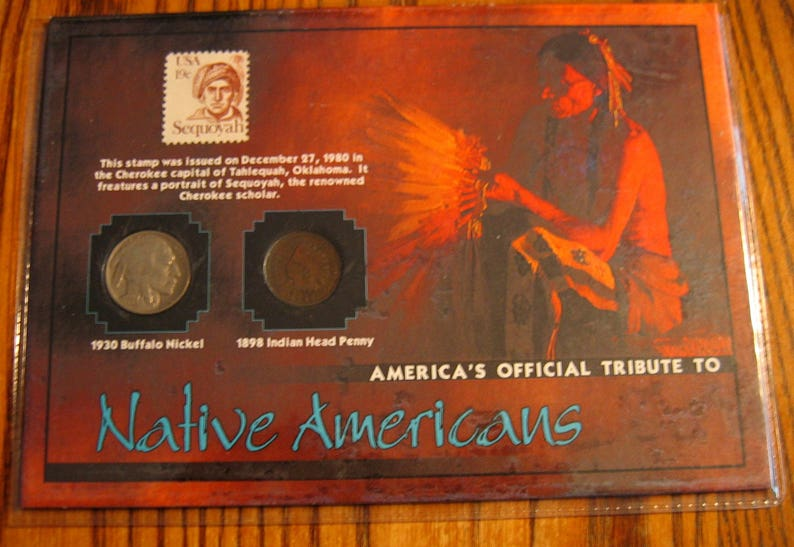 Valuable NATIVE AMERICAN Vintage US Coins and Stamp - Buff  Nickel/Indian  Cent Historic Classroom Display