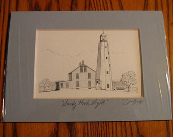 SANDY HOOK  LIGHTHOUSE Pen and Ink portrait Unframed Mat- Hand Signed by Artist