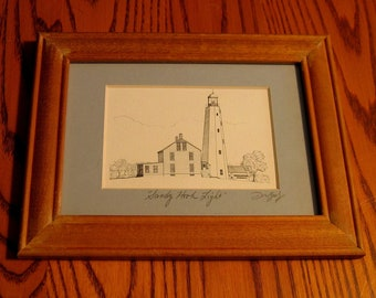 SANDY HOOK  LIGHTHOUSE Pen and Ink portrait Hardwood Frame Hand Signed by Artist