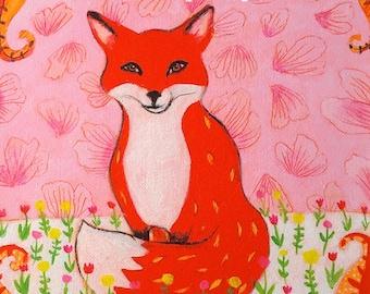 Red Fox Art Fox Art Print Woodlands Animal Art Fox Giclee Canvas Animal Art Nursery Decor Home Decor Wall Art