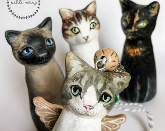 Personalized Cats figurine hand painted while using your photos as a reference Personalized cat sculpture for plants Cats