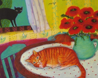 Orange Cat - Limited Edition Giclee on Paper/ Whimsical Cat Art