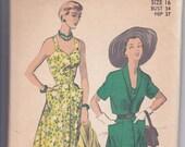 50s Chic Sweetheart Neckline Dress Flared Skirt Bolero Shoulder Straps Size 16 Bust 34 Vintage Sewing Pattern Advance 5539 Complete