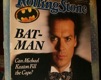 Rolling Stone Magazine w Bat-Man Cover, Michael Keaton, 1989, Many Interesting Facts and Articles, Used Magazine, Not Perfect, but Great!