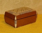 Vintage Wooden Trinket Box w Shell Inlay, Red Cloth Inside 1970 39 s, 4 quot L, Hinged