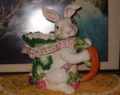 """Fritz the Bunny Pitcher, Very Large, 10""""W, 11""""H, 6""""D, Use as a Pitcher or as a Planter, Pottery, A Gorgeous Piece, Easter, Decor, Home Use"""