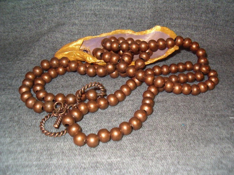 Tag w Cross West /& Co Bronzed Beads Beaded Necklace Bronze Beauties Unisex Lovely Piece 42 to 44 Adjustable Amazing Piece 1990/'s
