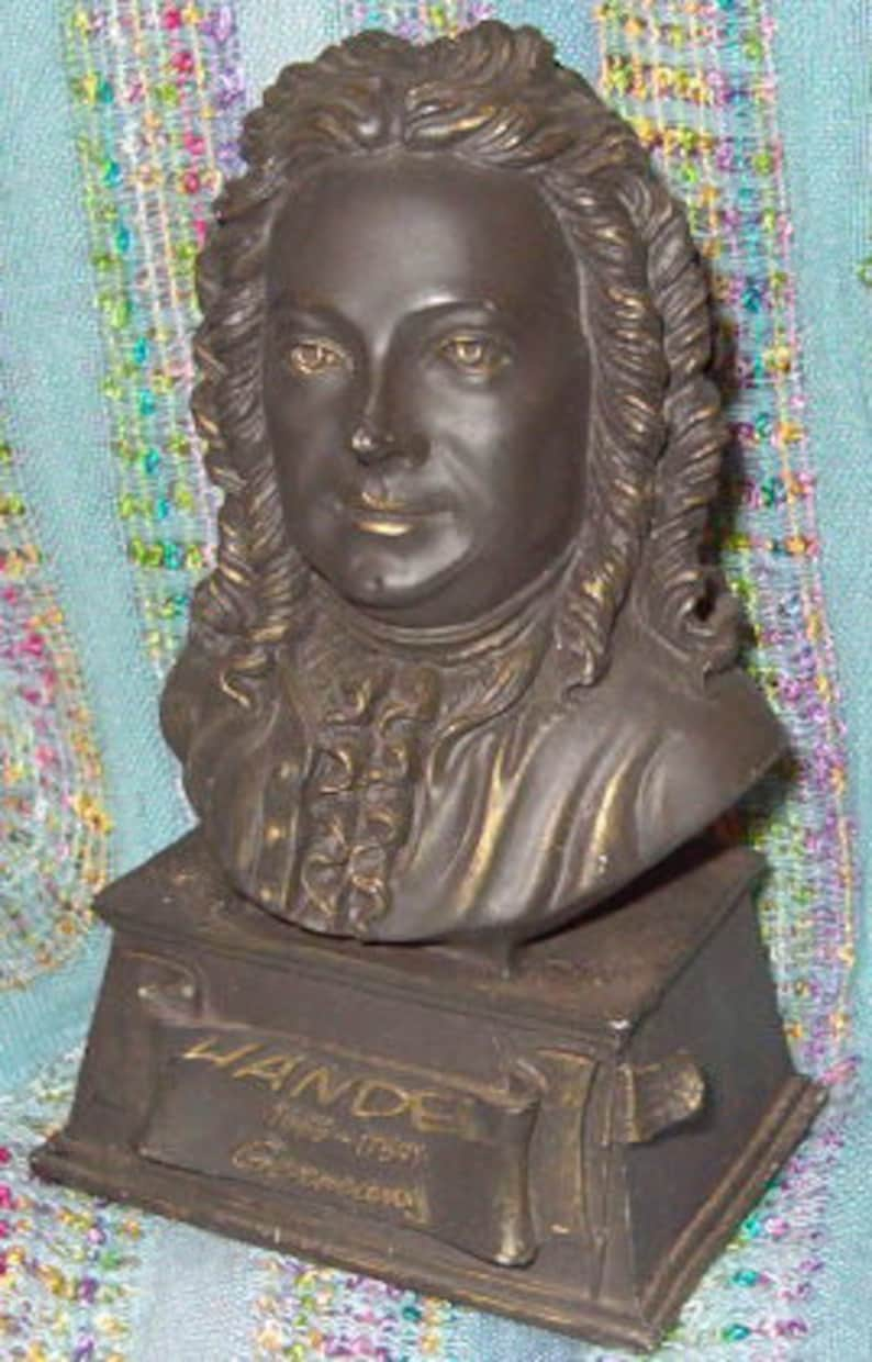 5 12H Germany Music Lover Fragments of a Past 1960/'s Detailed Design Green Felt Base Bust of Handel 1685-1759 Excellent Piece