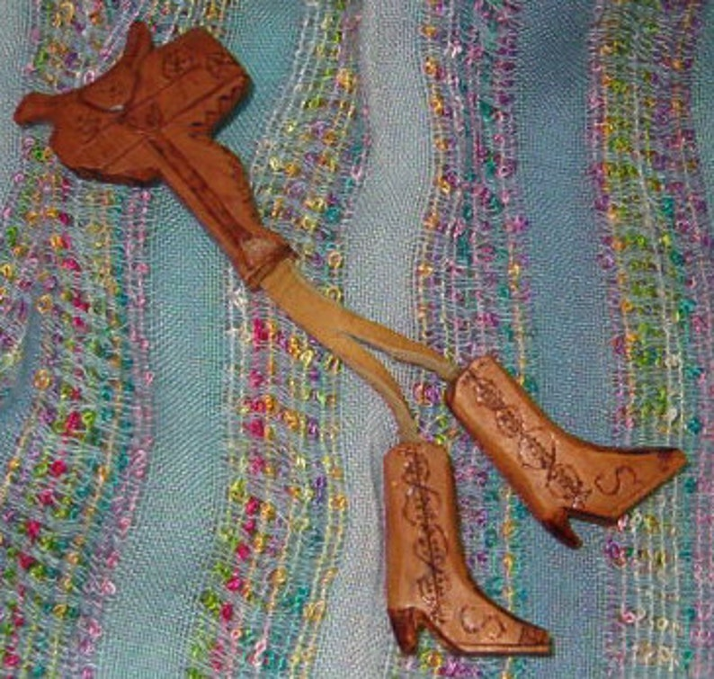 Clever Work Saddle w Hanging Boots Pin Hand Carved Spirits of the Hills 1960/'s Wood Carved w Leather Hangings 5 12L Hand Decorated