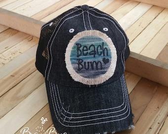 09d37949376a62 Beach Bum, Beach Bum Hat, Raggy Patch Hat, Distressed Trucker Hat, Beach  Trucker Hat, Beach Hat, Summer Beach Hat, Summer Baseball Cap