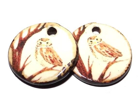 "Ceramic Owl Earring Charms Pair Beads Handmade Rustic 18mm/0.7"" CC3-4"