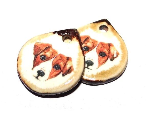 "Ceramic Dog Earring Charms Pair Beads Handmade Rustic 18mm/0.7"" CC3-1"