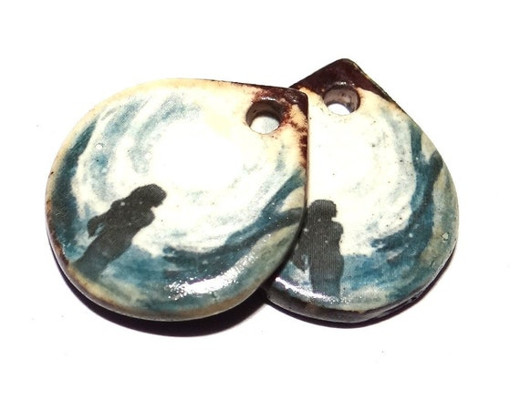 "Ceramic Feminine Goddess Earring Charms Pair Beads Handmade Rustic 18mm/0.7"" CC3-4"