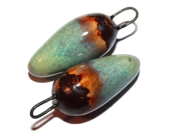 """Ceramic Rustic Charms Spike Beads Pair Porcelain 30mm 1.2"""" CC2-2"""