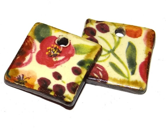 "Ceramic Flower Earring Charms Pair Beads Handmade Rustic 18mm/0.7"" CC1-1"