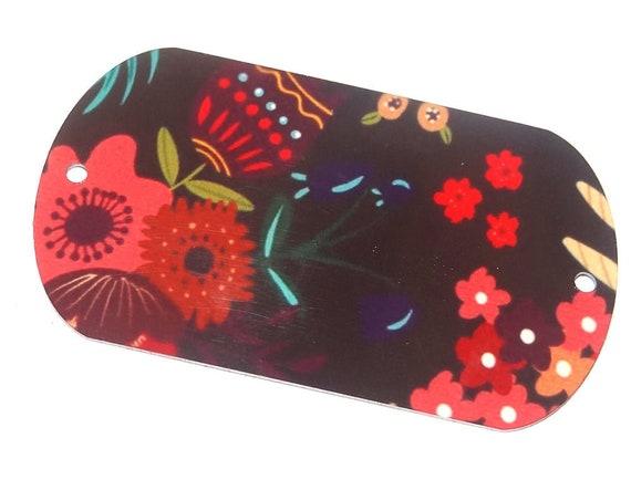 "Metal Floral Pendant Bracelet Bar Handmade Red Purple 50MM 2"" MLP7-3"