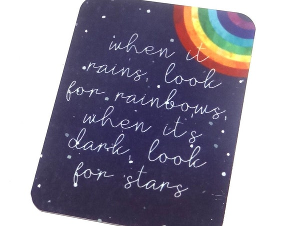 Large Metal Quote Pendant Handmade Rainbow 45mm