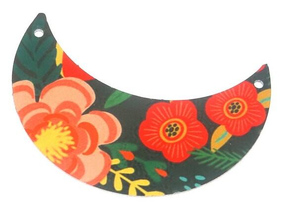 Metal Floral Pendant Handmade Crescent Roses Flowers Sunny Summer